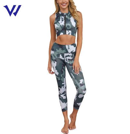 Breathable High Quality Sports Bra and Big Butt Yoga Pants Fitness Set Camouflage Yoga Set