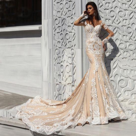 Blush Lace Bridal Dresses Nude Wedding Gowns Bride's Prom Evening Dress Es2018