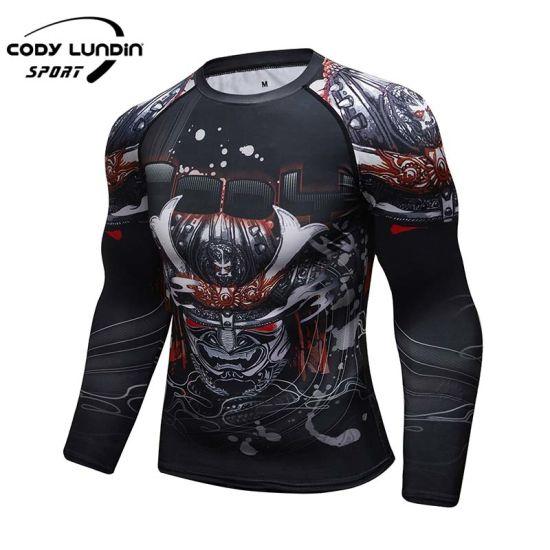 Custom Polyester Spandex Men Sports Shirt Compression Rashguard for Men