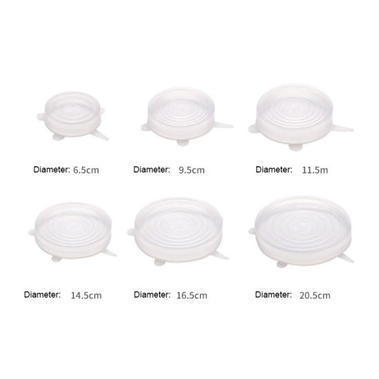 Silicone Stretch Lids, Zero Waste Reusable Silicon Container Lid for Cover Leftover Food and Fruit or Bowl (6 PCS, Clear) Esg11912