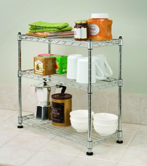 Small 3 Tiers Diy Adjule Chrome Kitchen Metal Wire Rack Shelving For
