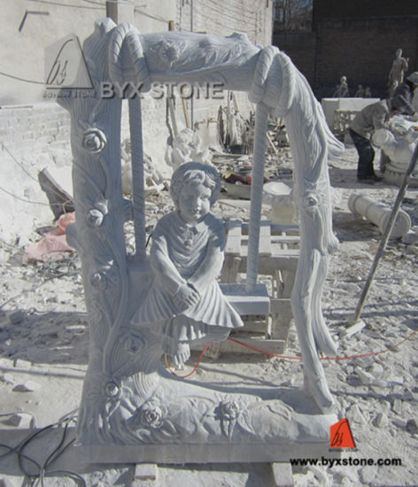 White Marble Stone Kid Carving Swing Garden Sculptures