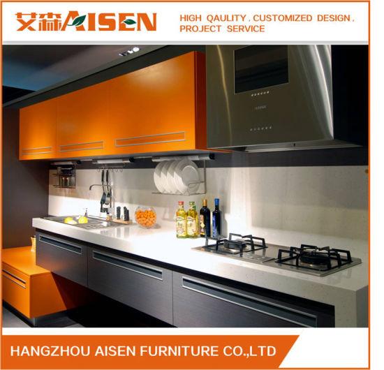 2018 Modern Italian Stylish Orange Brown Lacquer Wooden Kitchen Cabinet Furniture China Wood Kitchen Cabinets Furniture Made In China Com