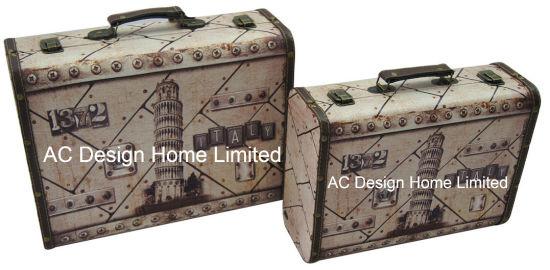 S/2 Decorative Antique Vintage Pisa Design Printing PU Leather/MDF Wooden Storage  Suitcase Box