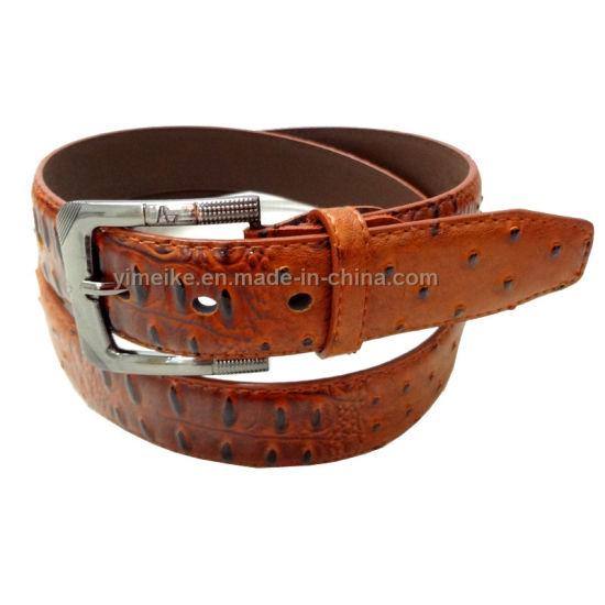 New Fashion Men Belt Ostrich Grain PU Leather Belt Needle Buckle
