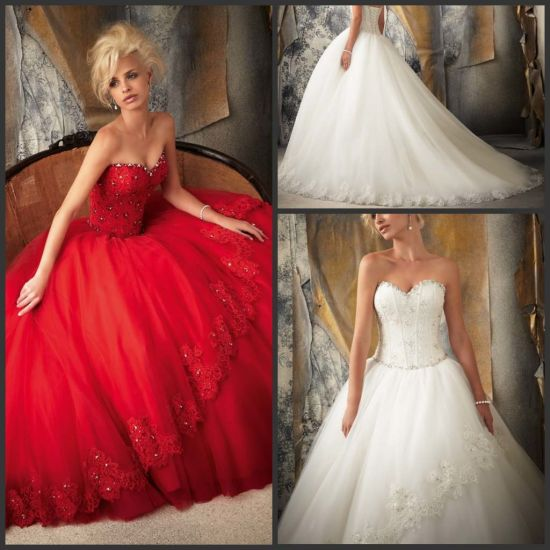 China Red Color Accent Wedding Dress Bridal Ball Gown 1 Piece Drop ...