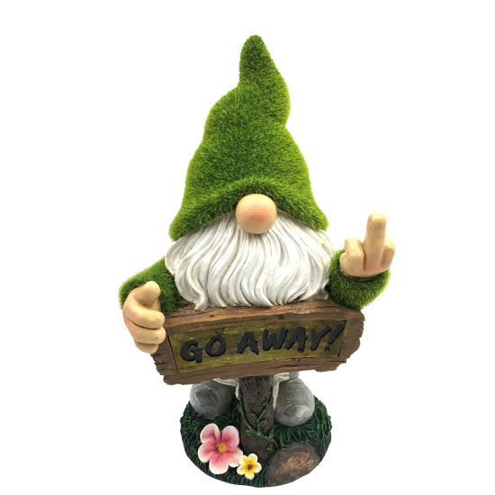 Garden Yard Decor Flocked Polyresin Gnome Figurine, Artificial Moss Finished Flipping The Finger Resin Dwarf Statue