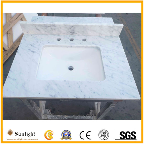 Discount Natural Carrara White Marble Bathroom Countertops Vanity Tops with Sink