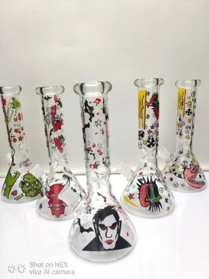 Wholesale Glass Water Pipes Glass Smoking Pipes with Decals