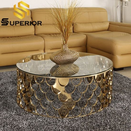 China Luxury Home Steel Base Gold Round, Round Glass Coffee Table Modern