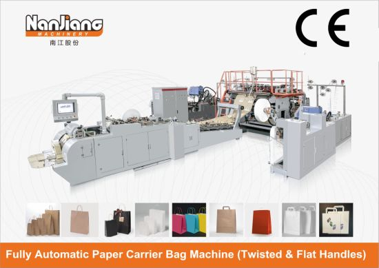 Roll Fed Fully Automatic Paper Bag with Inline Twisted & Flat Handle Machine