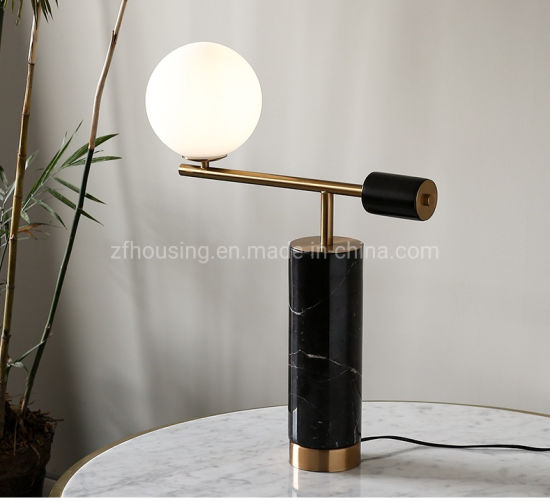 fashion Home Decoration Desking Reading Table Lighting Black Marble Table Lamp with Glass Ball Zf-Cl-025