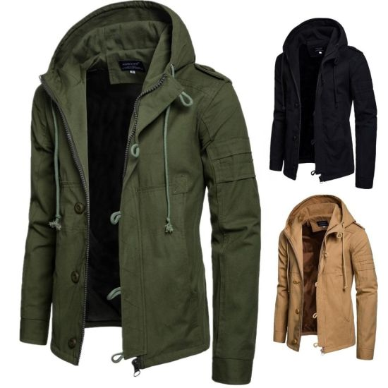 Winter Men Coat Cotton Padded Hooded Down Coat Casual Jacket