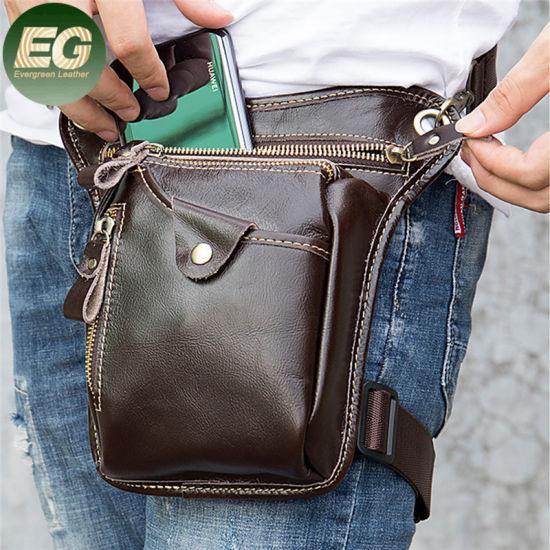 Emg6343 Motorcucle Waterproof Travel Waist Belt Pack Pouch Drop Leg Bags Man Bum Thigh Purse Mens Fanny Leather Hip Bag
