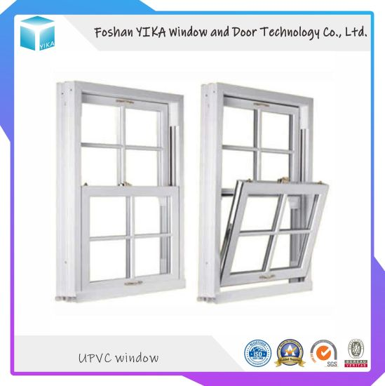American Style PVC/ Vinyl Hurricane Impact Hung Window with Double Glass
