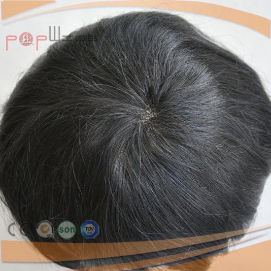 100% Human Short Hair Full Lace Base PU Edge Lace Front Mens Toupee (PPG-l-0894) pictures & photos