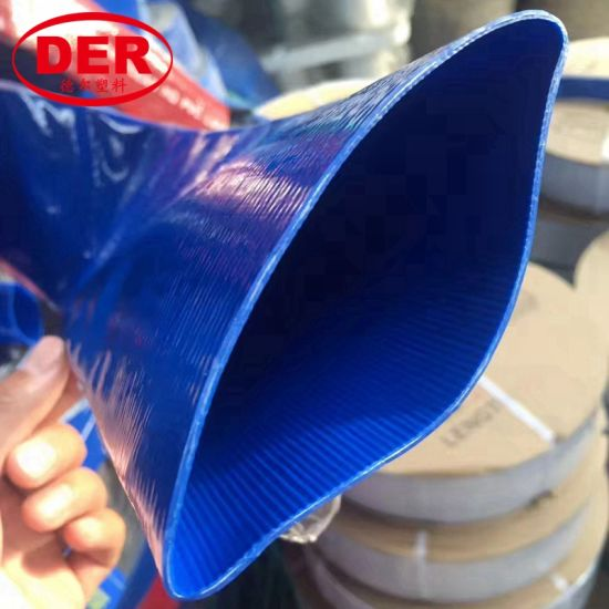 """Factory 1""""-14""""Irrigation PVC Lay Flat Folding Hose/Agricultural Water Discharge Blue Hose"""