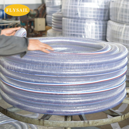 Flexible Clear PVC Spring Spiral Steel Wire Reinforced Water Fuel Suction Discharge Conduit Pipe Hose OEM