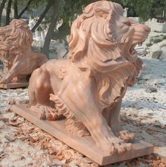 Garden/Outdoor/ Animal/Lion Stone Statue Pink Marble Sculpture