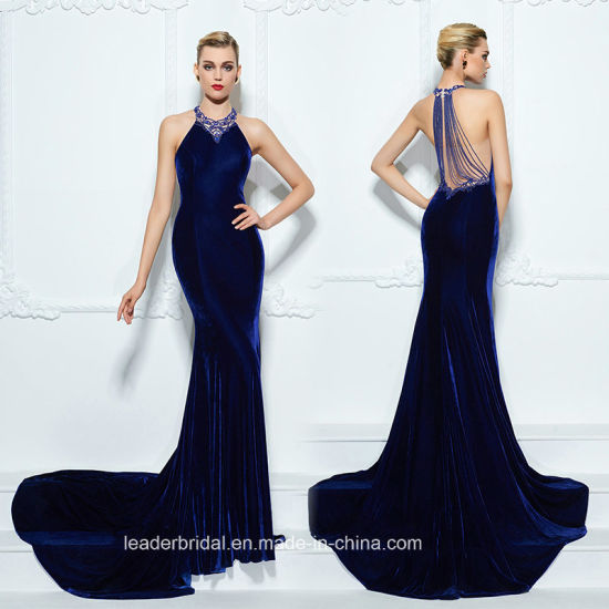 a6561e75670 Royal Blue Prom Party Dress A-Line Velvet Evening Dresses Z5019 pictures    photos