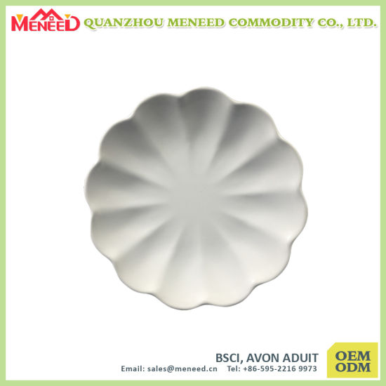 White Solid Color Hotel Use Melamine Dinner Plate pictures & photos