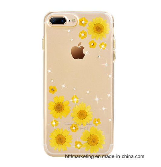 Real Dry Flower Mobile Glitter Bling Cell Phone Case for iPhone pictures & photos