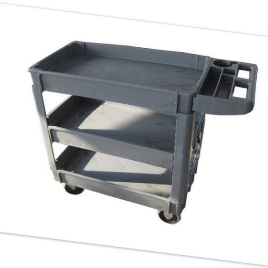 250kgs Load Capacity Gray 3 Layers Plastic Service Cart with Mute Caster Wheel
