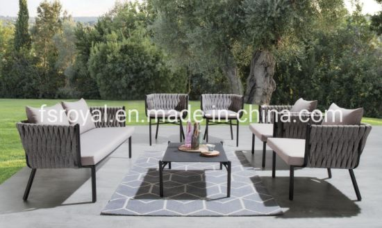 Outdoor Aluminum Sofa Set with Cushion Garden Single Sofa Modern Leisure Sofa Set Aluminum Tea Table Patio Furniture
