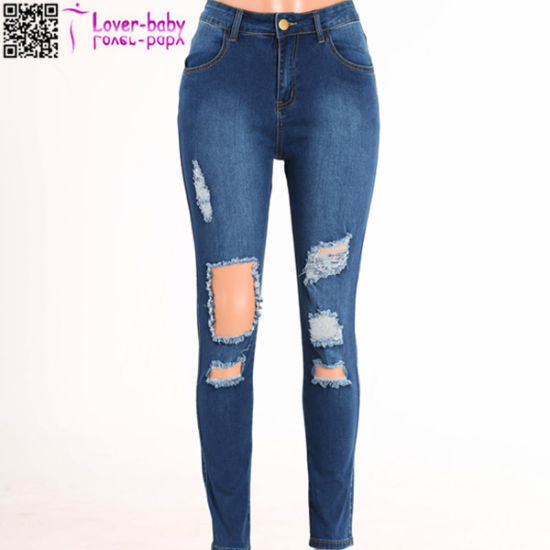 Dark Wash Denim Ripped Skinny Jeanswear L553 pictures & photos