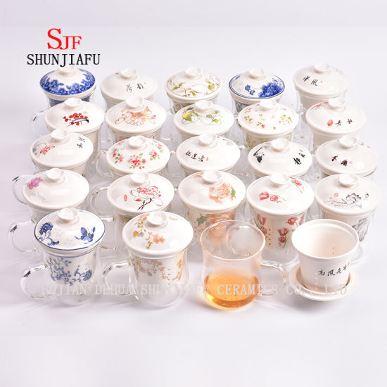 400ml Creative Gifts Double Wall Glass Tea Strainer Coffee Tumbler, Glass Tea Cups with Lid pictures & photos