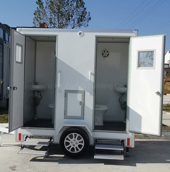 Smart Way Prefab Mobile Fiberglass Trailer Toilet. pictures & photos