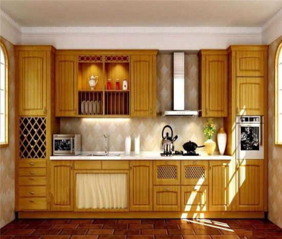 Pastoral Style Solid Wood Kitchen Cabinet with Gridding pictures & photos