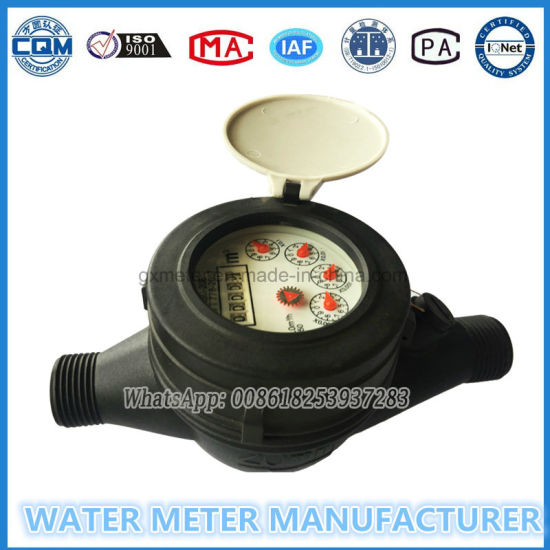 Multi Jet General Plastic Nylon Water Meter with Mechanism Parts ISO9001: 2015 (certificate NO.: 00218Q24199R2M)