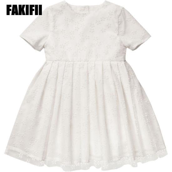 60f54c02c698 Wholesale Kids Wear Fashion Children Apparel Summer Girl White Flower  Flocking Mesh Dress Comfortable Infant Clothes