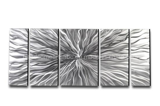 Modern Abstract Silver Metal Wall Art Sculpture for Home Decor