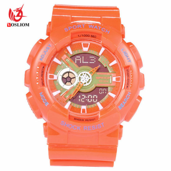 Men′s Fashion Leisure Watch Quartz and Digital Movement Multi-Function Plastic Outdoor Sport Watch -V136 pictures & photos