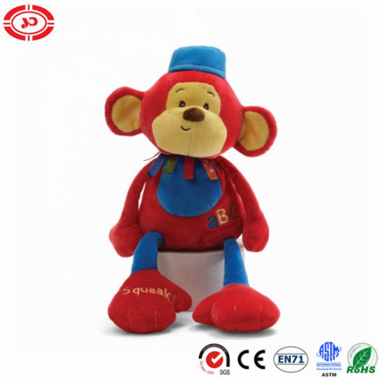 Red Cute Soft Plush Monkey Toy with Squeaker for Baby