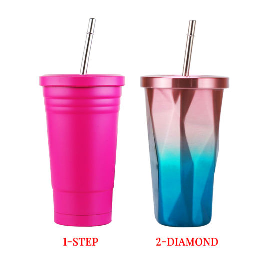 Double Walls Stainless Steel Coffee Tumbler with Straw Inox Tumbler Insulated Tumbler