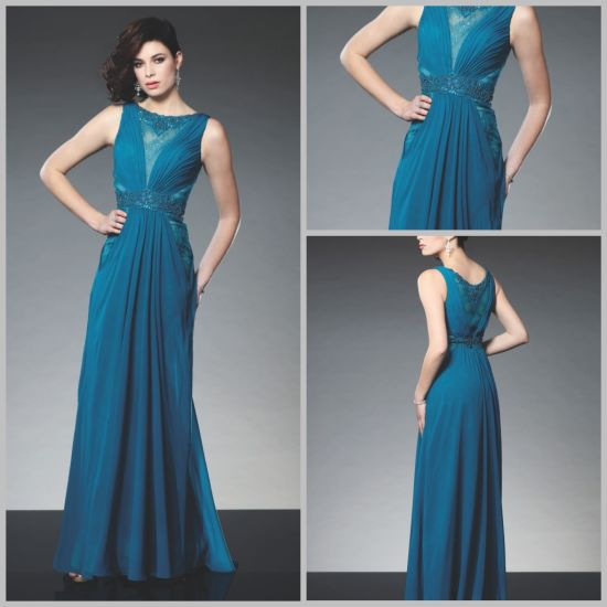 Blue Party Prom Formal Dresses A-Line Chiffon Lace Long Evening Dress Gown EV20167