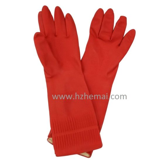 Long Household Latex Gloves Kitchen Latex Gloves Washing Work Glove pictures & photos