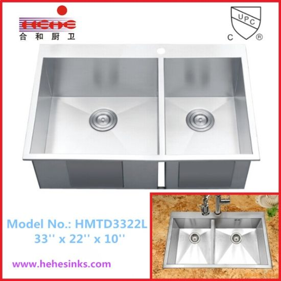 Top Mount Double Bowl Handmade Sink with Cupc Approved (HMTD3322L)