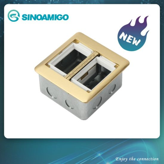 Aluminium Double Floor Boxes with Panasonic Sockets Floor Outlet