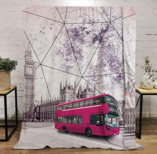 Lightweight Travel Throw Blanket, Bus Cartoon Pattern Blankets Soft Warm Fluffy Plush Flannel Throws Blankets Unisex