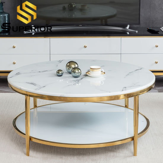 White Round Marble Top Coffee Table, Marble Top Table Round
