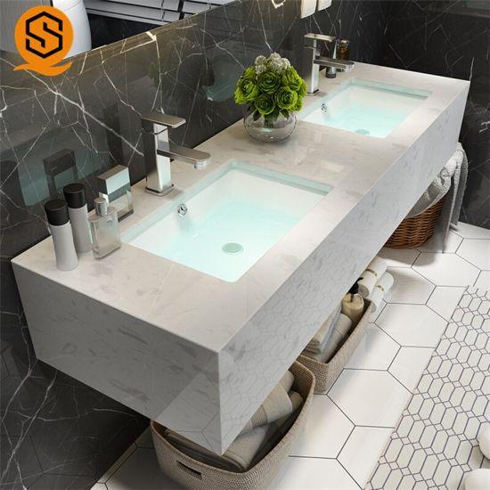 Modern Quartz Stone Bathroom Countertops With Built In Sinks