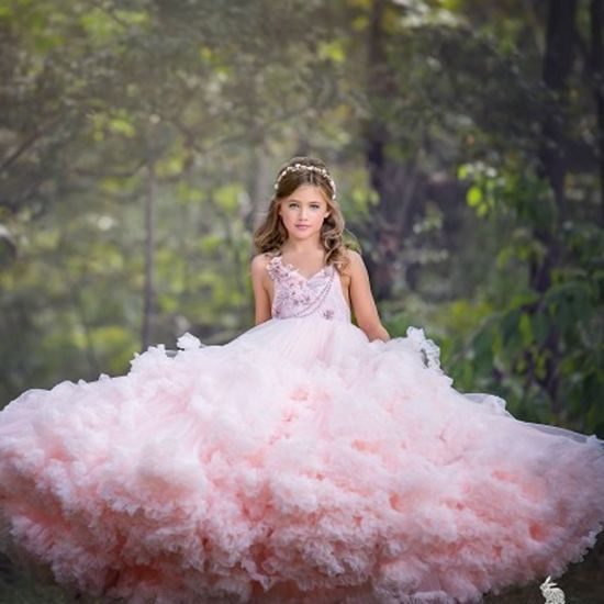 Girl/'s Ball Gown Pageant Dress Bridesmaid Party Princess Gown Flower Dress Stock