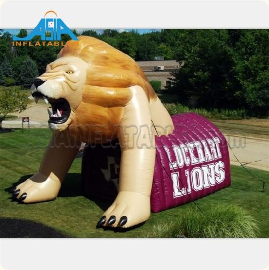 Custom Inflatable Lion Sport Tunnel Inflatable Animal Sport Tunnel Inflatable Mascot Sport Tunnel Tent