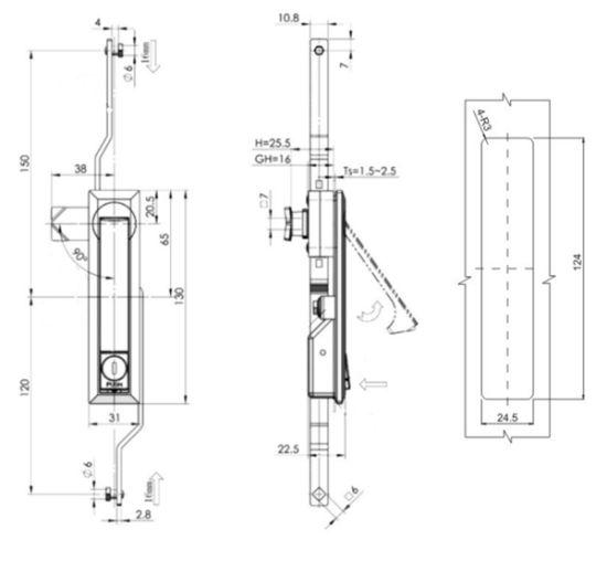 Fs3492 Zinc Die-Casting Cabinet Rod Control Door Lock 3 Point Lock Swing  Handle Electronic Cabinet Plane Lock