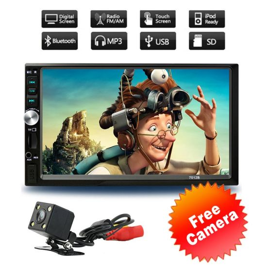 Full Touch Screen 2 Double DIN 7 Inch Car MP5 Player Rear Camera Bluetooth  Stereo Radio