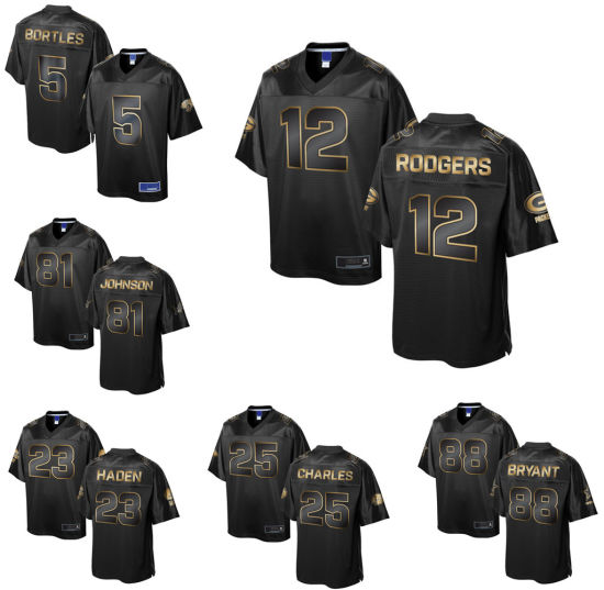 outlet store a3484 277f1 Green Bay Aaron Rodgers PRO Line Black Gold Collection Football Jersey